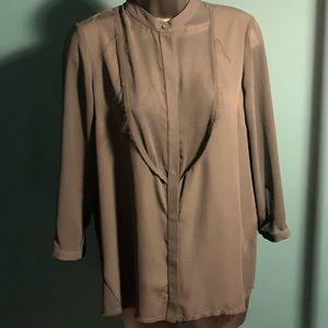 NWOT TopShop black long button up blouse (7/$35)